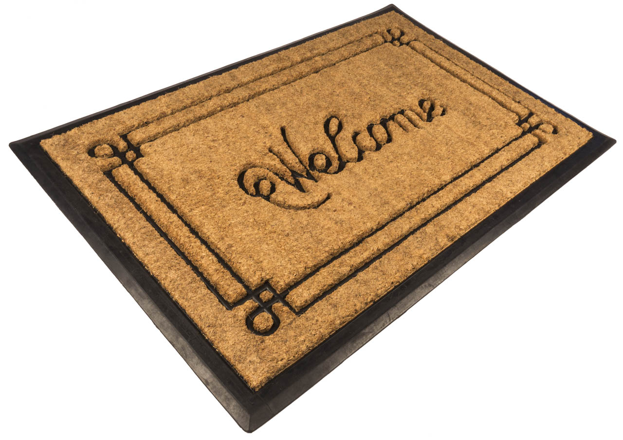 Welcome With Border 18x30 Recycled Rubber And Coir Doormat
