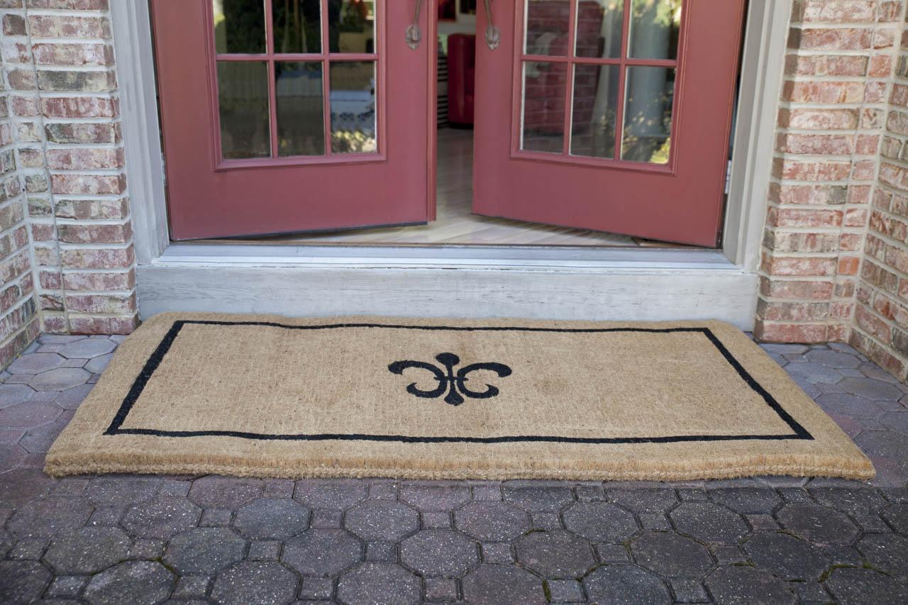 Black Fleur De Lis 36x72 Extra Thick Handwoven Coconut Fiber Doormat Entryways