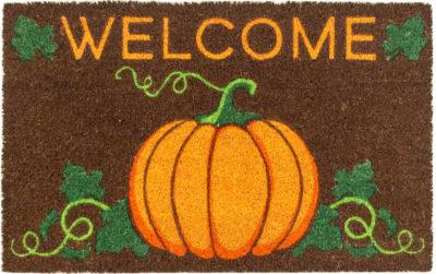 Welcome Pumpkin Non Slip Coir Doormat