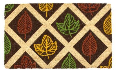 Leaf Rubbing Non Slip Coir Doormat