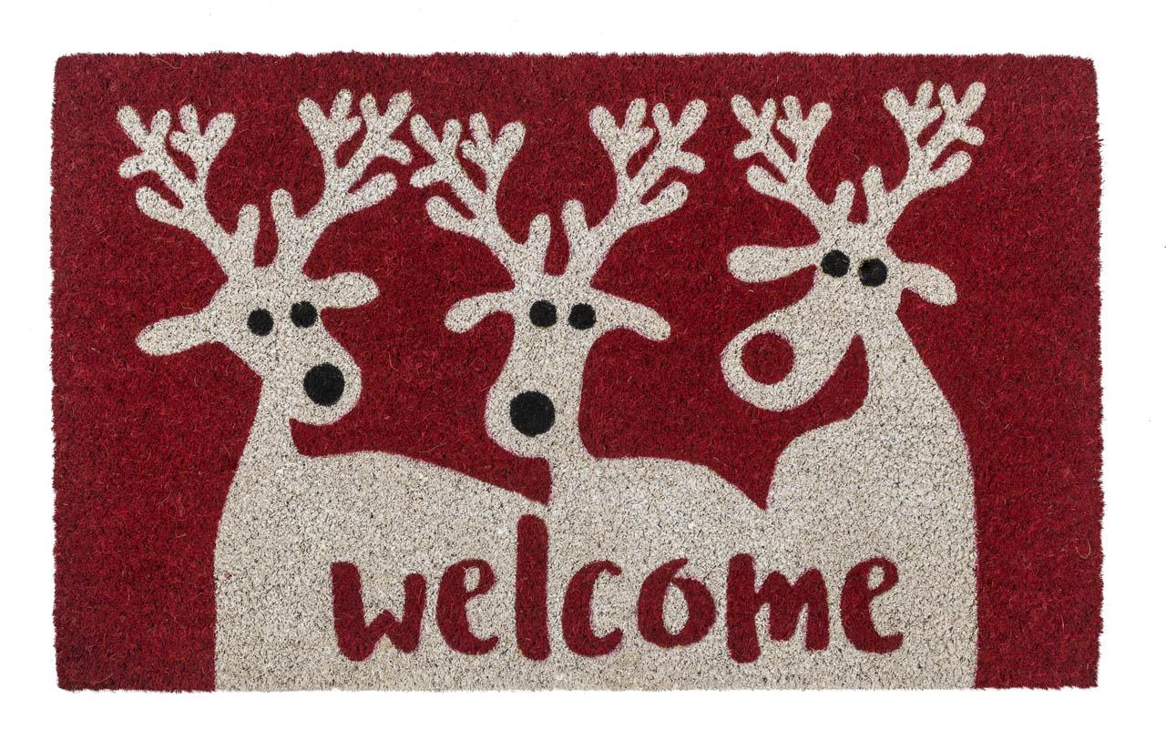Reindeer Welcome Coir Doormat With Backing Entryways