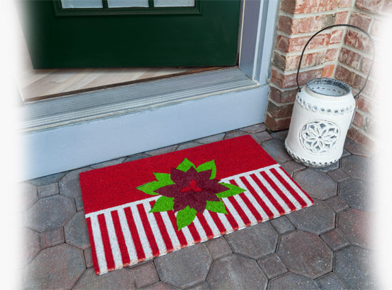 Poinsettia Welcome Mat