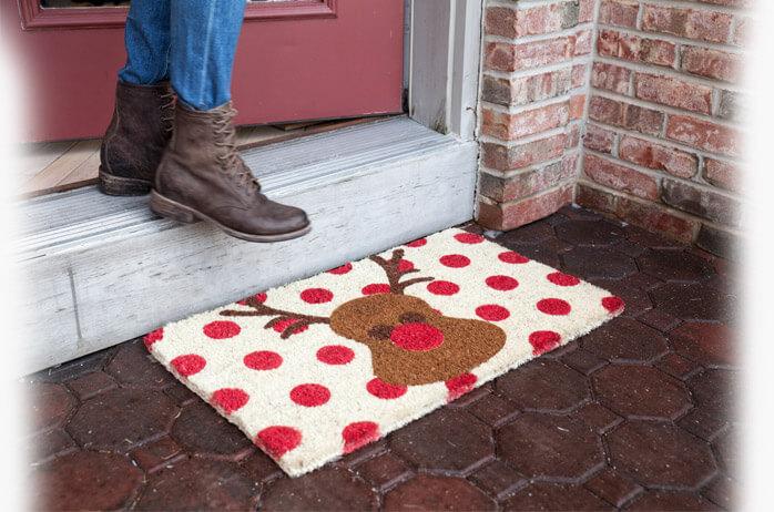 Rudolph Reindeer Holiday Doormat