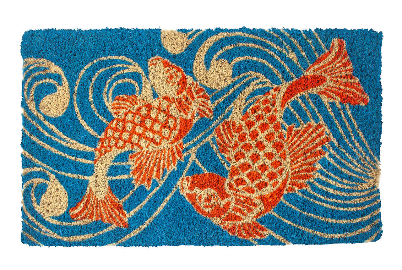 Koi Fish Handwoven Coconut Fiber Doormat Entryways